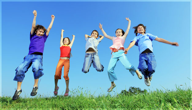 Children jumps from happiness